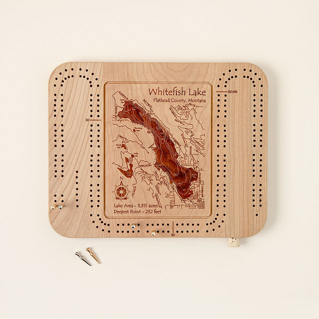 Custom Lake Art Cribbage Board