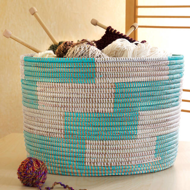 Handmade Herringbone Knitting Basket