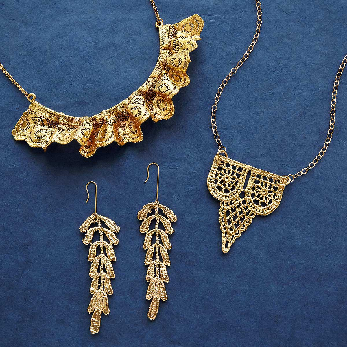 Ruffled Gold Dipped Lace Statement Necklace gilded lace jewelry