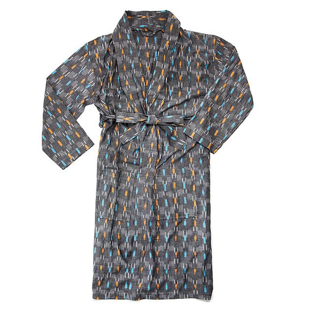 Men's Cotton Ikat Wrap Robe