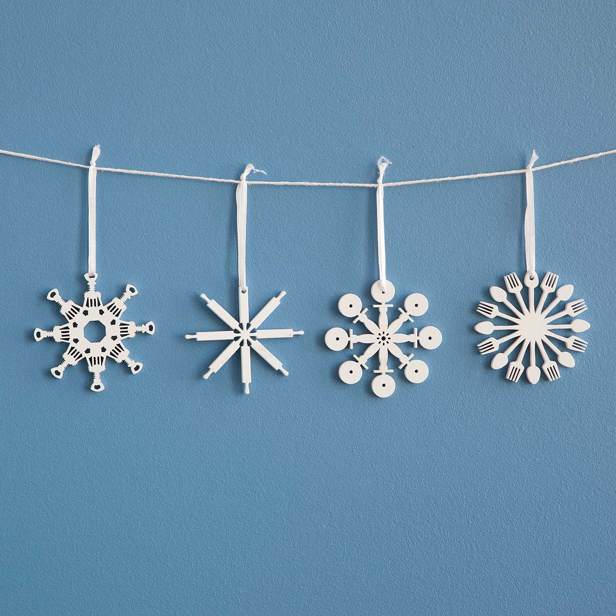 Kitchen Ornament Kitchen Tool Flake Ornaments Set Of 4 Snowflake Decorations