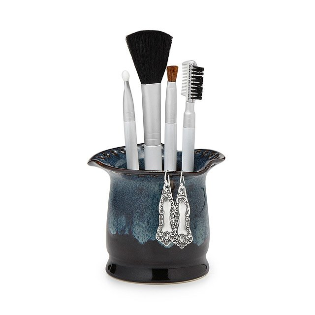 Ruffled Edge Earring and Cosmetic Brush Holder