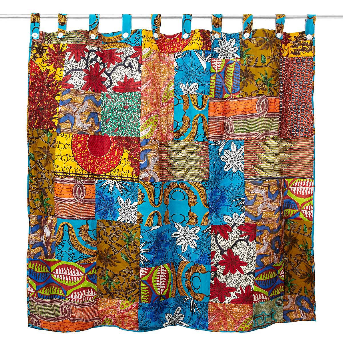 Favorite African Patch Shower Curtain | Floral Cotton Patchwork | UncommonGoods XI89