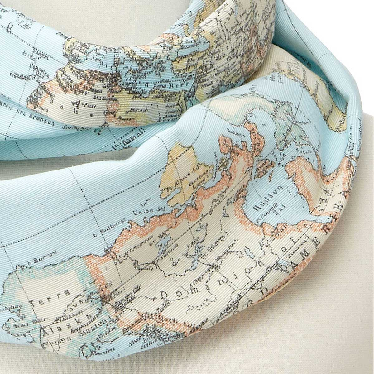 around the world geography scarf  map scarf accessory  - around the world geography scarf  thumbnail