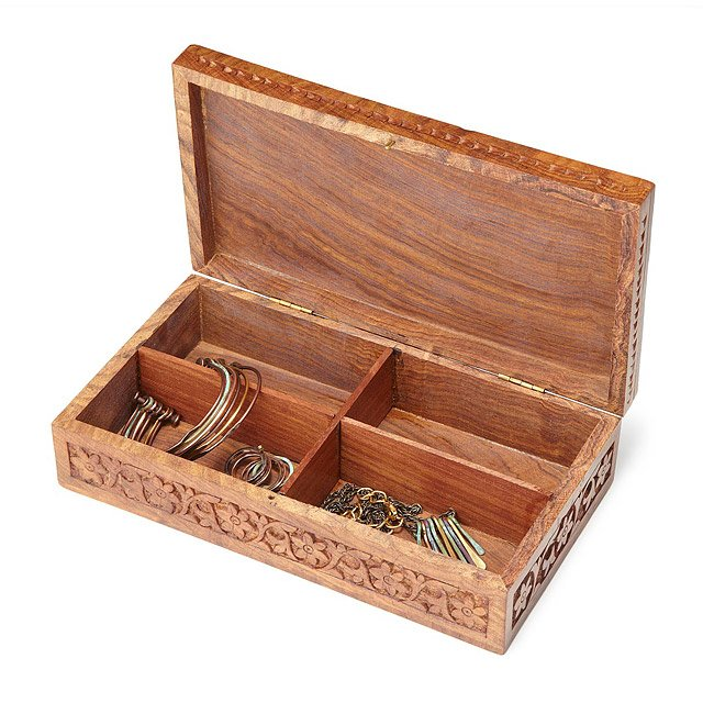 Hand Carved Artisan Jewelry Box