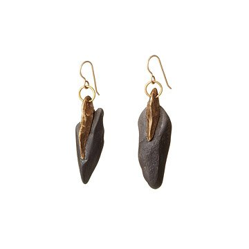 Hand Forged Slate and Bronze Earrings