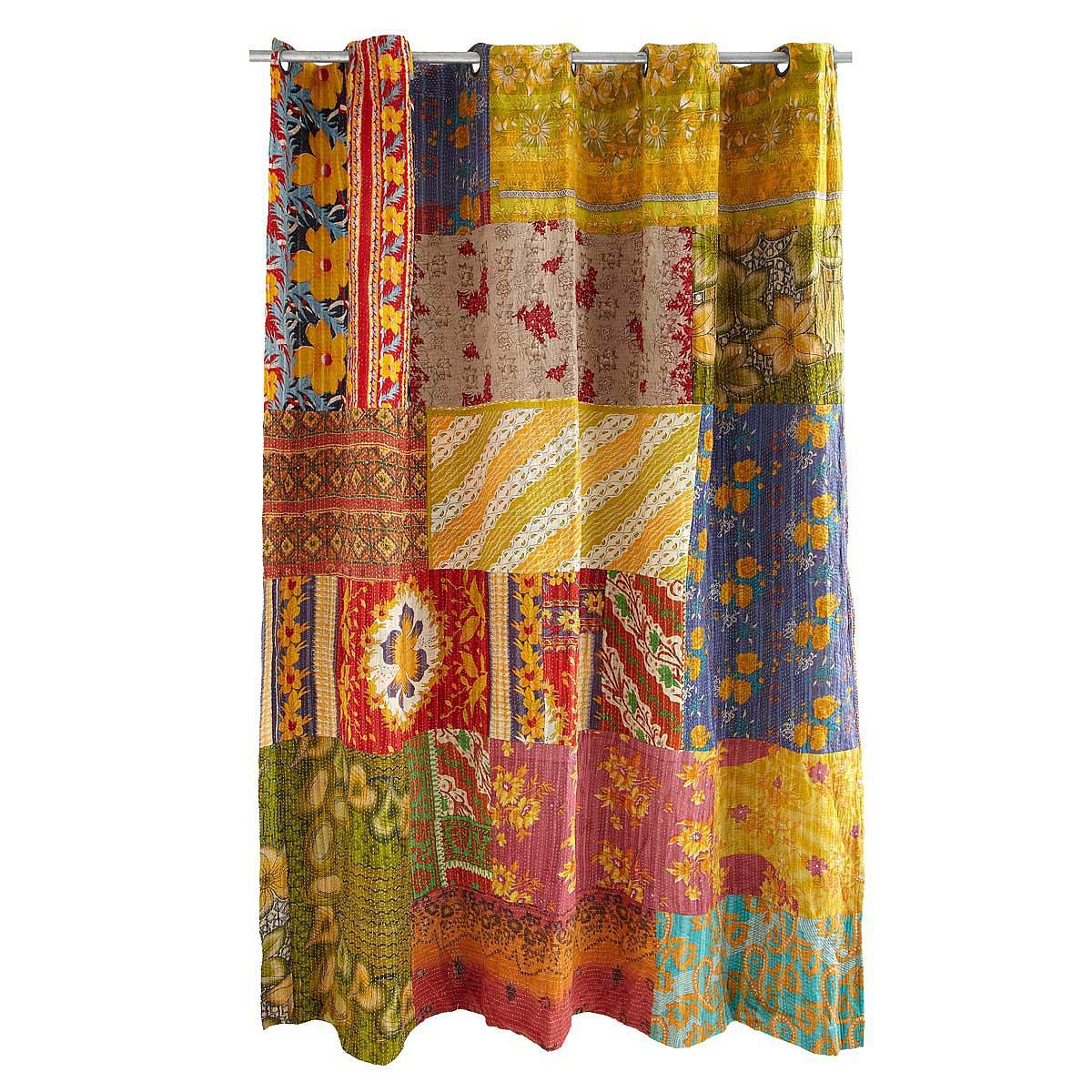 Birch tree shower curtains - Kantha Shower Curtain