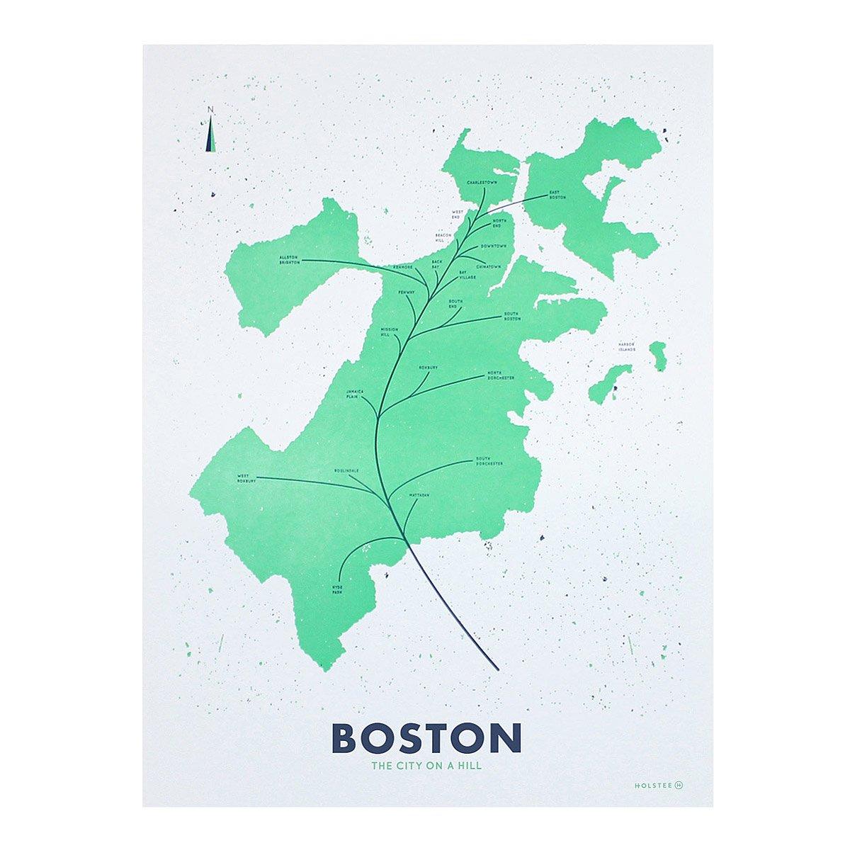 Neighborhood Leaf Maps Letterpress Printing UncommonGoods - Boston neighborhood map