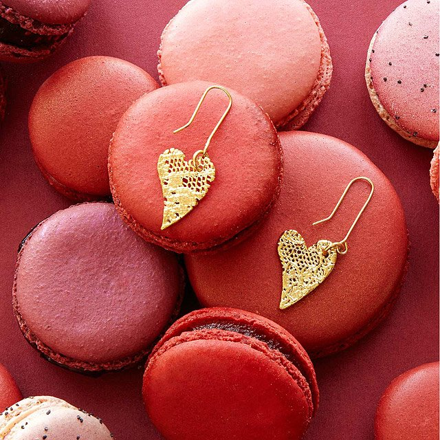 Mini Gold Dipped Lace Heart Earrings