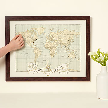 K'Mich Weddings - wedding planning - anniversary gifts for her - personalized anniversary push pin world map - uncommongoods