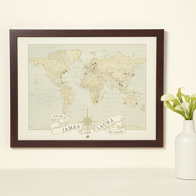 Personalized Anniversary Pushpin World Map