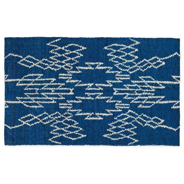 Handwoven Guatemalan Zig Zag Wool Rug Hand Woven