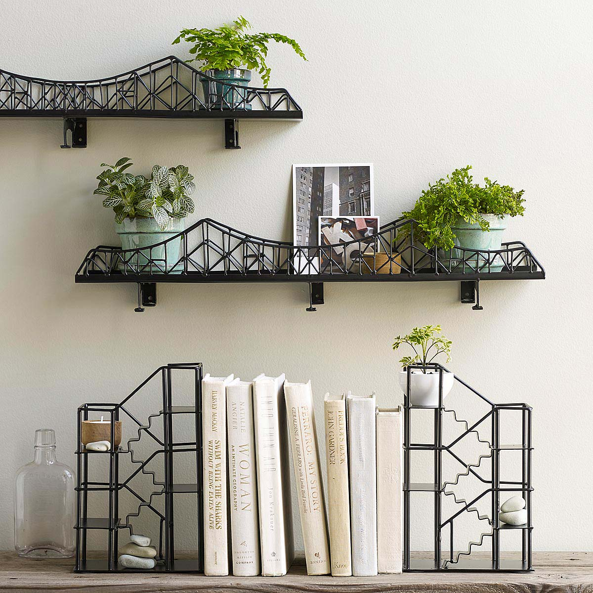 Staircase Shelving suspension bridge shelf | metal shelving | uncommongoods