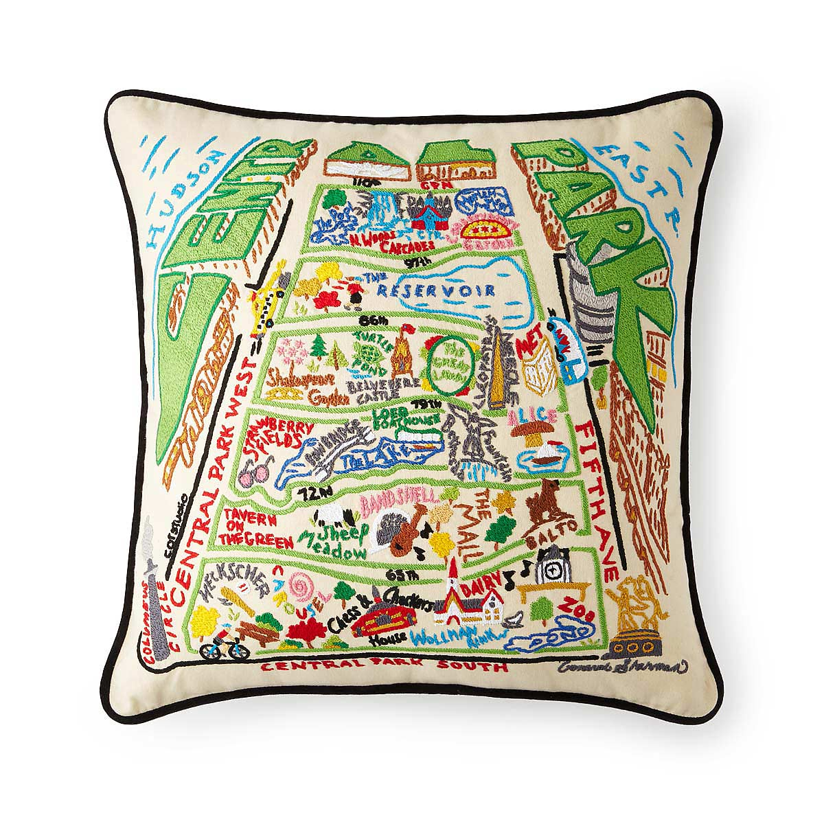 Hand Embroidered Central Park Pillow 1 Thumbnail