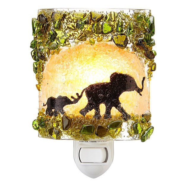 Recycled Glass Elephants Nightlight