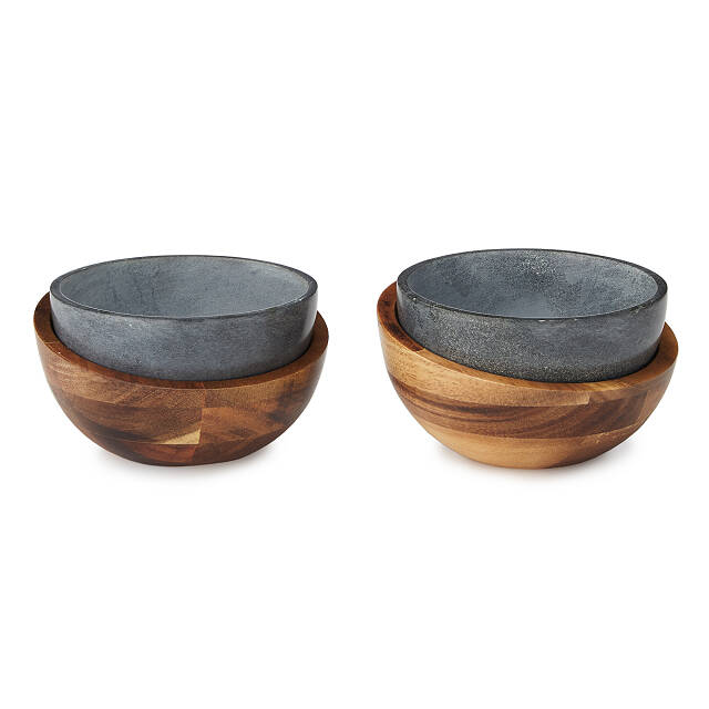Hot and Cold Soapstone Handheld Bowls - Set of 2