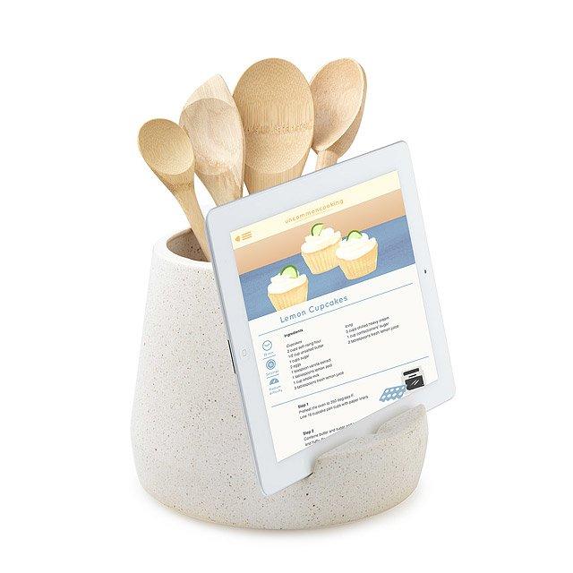 Kitchen Utensil and Tablet Holder   ipad cookbook stand ... on kitchen tablet mount, kitchen tablet stand, kitchen laptop holder, kitchen tablet case, kitchen tablet recipe,