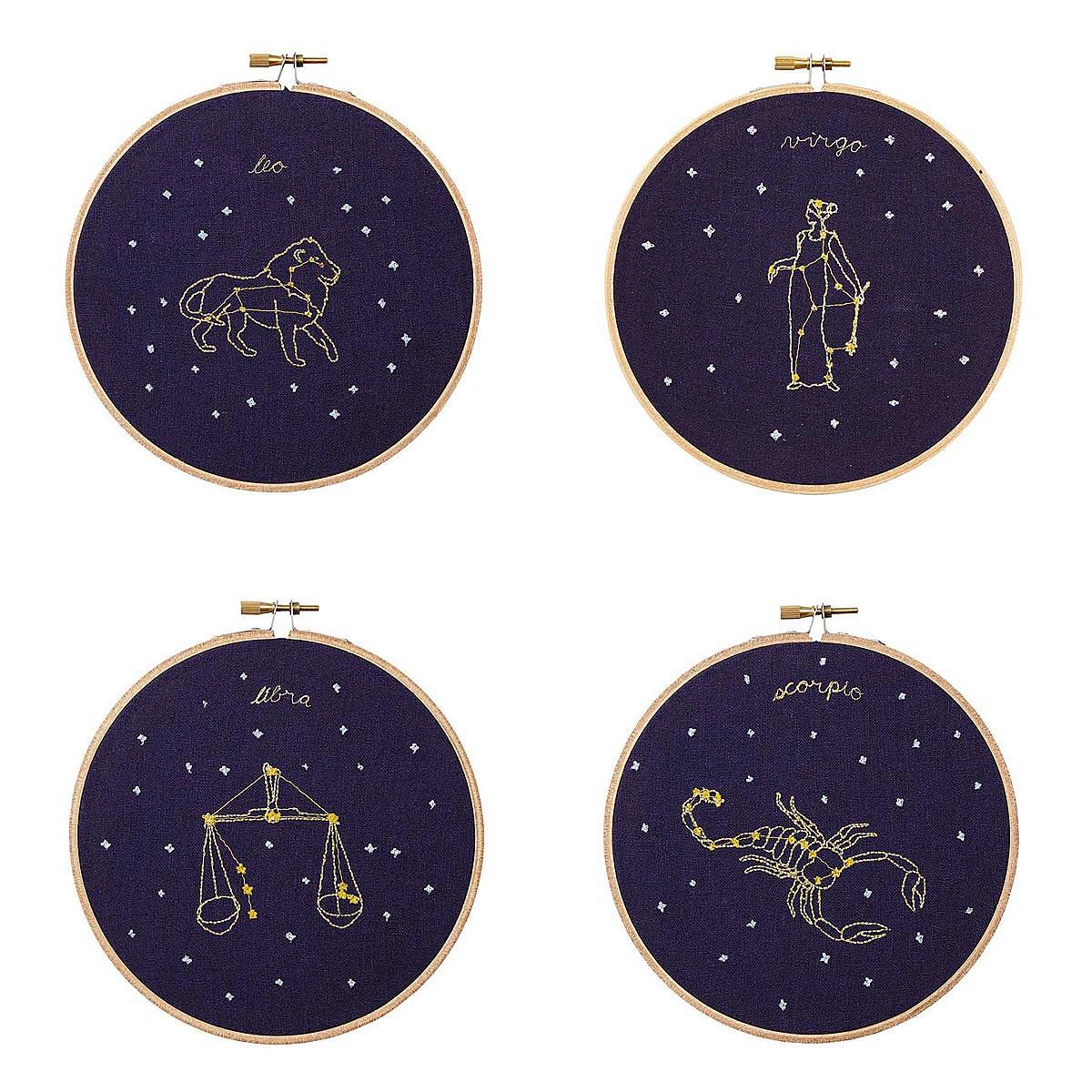 Zodiac Embroidery Hoop Art | needlepoint, astrology, embroidery hoop ...