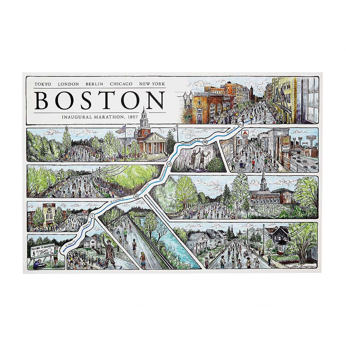 Boston Marathon Map  Boston marathon artwork route map