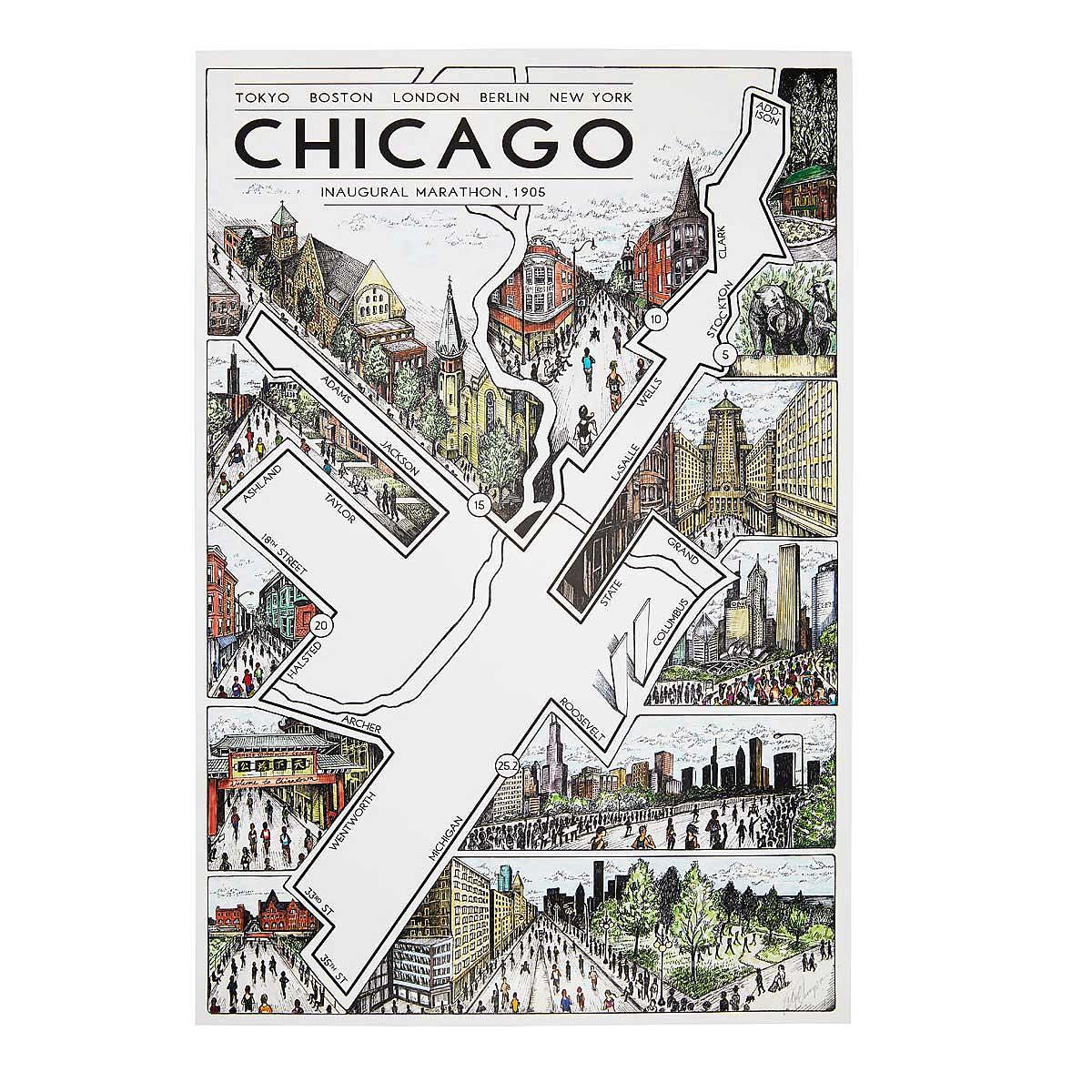 Chicago Marathon Map Chicago Marathon Artwork Route Map - Chicago marathon map 2016