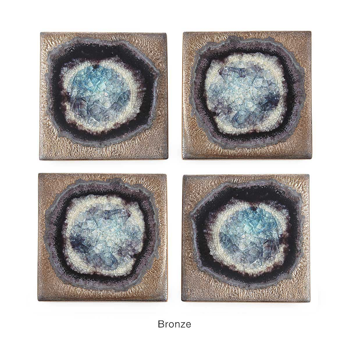 stoneware and crackled glass coaster sets  coasters glazed  - stoneware and crackled glass coaster sets  thumbnail