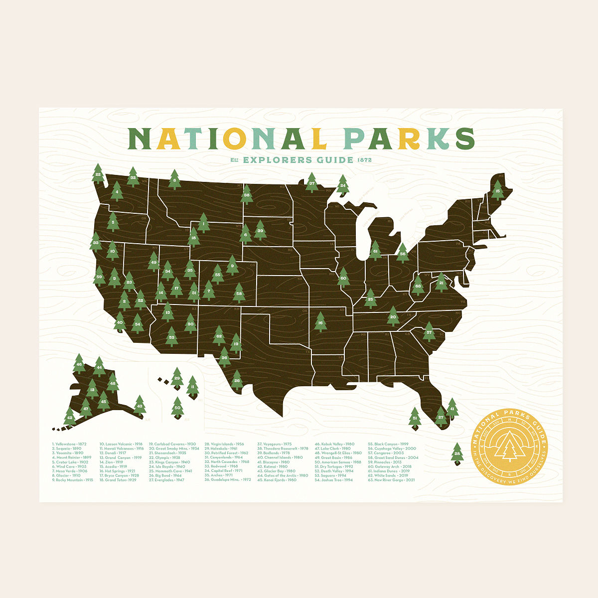 National Parks Explorer Map Road Trip Ideas UncommonGoods - Us national parks interactive map