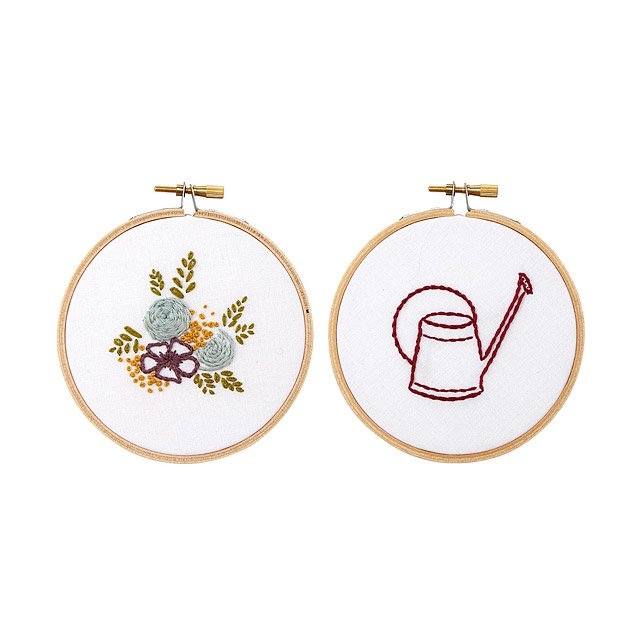 Floral Duo Embroidery Hoop Art