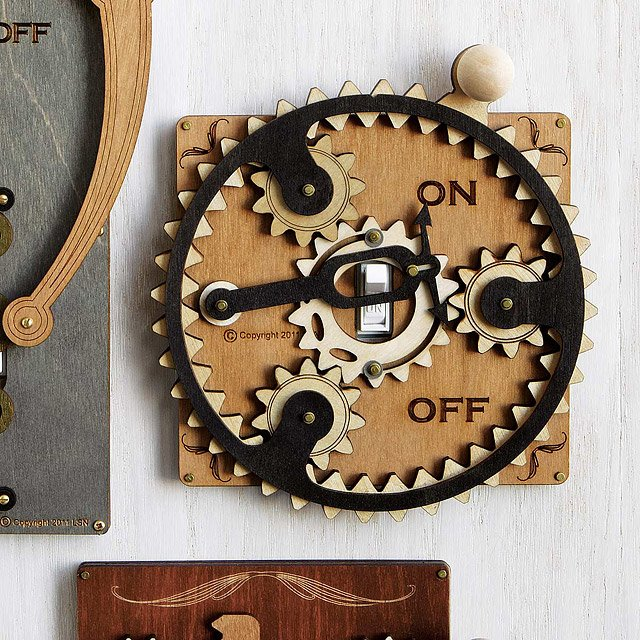 Planet Gear Switch Plate Laser Cut Steampunk Light Switch Covers