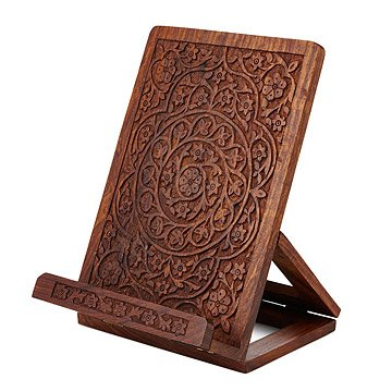 Hand Carved Wooden Cookbook Stand
