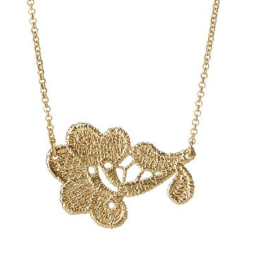 Hydrangea Gold Dipped Lace Necklace
