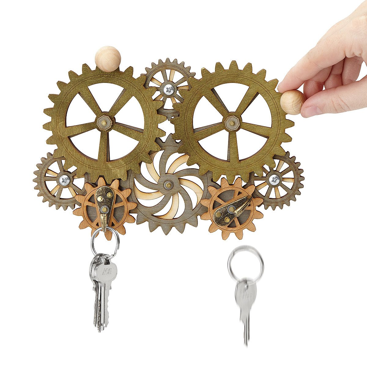 Kinetic Gear Key Holder steampunk style gift UncommonGoods