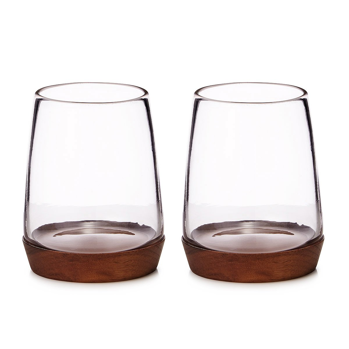 wooden base wine glasses set of 2 2 thumbnail