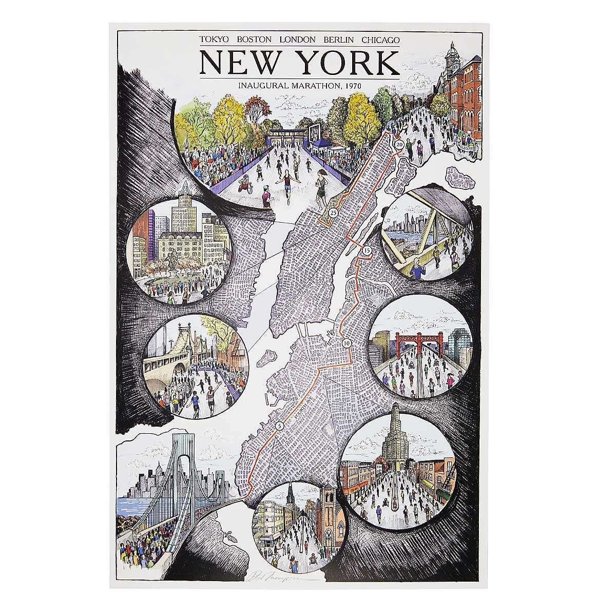 New York Marathon Map New York Marathon Artwork Route Map - Chicago map new york