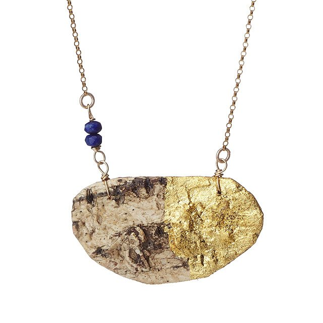 Gilded Birch and Lapis Necklace