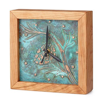 Patina Pinecone Box Clock