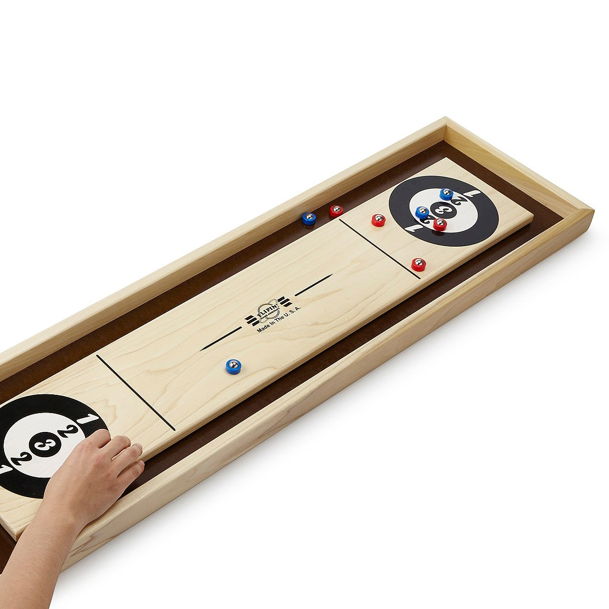 Tabletop Shuffle Board Wooden Tabletop Game UncommonGoods - Portable shuffleboard table