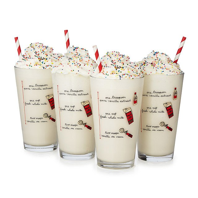 Milkshake Diagram Glasses - Set of 4