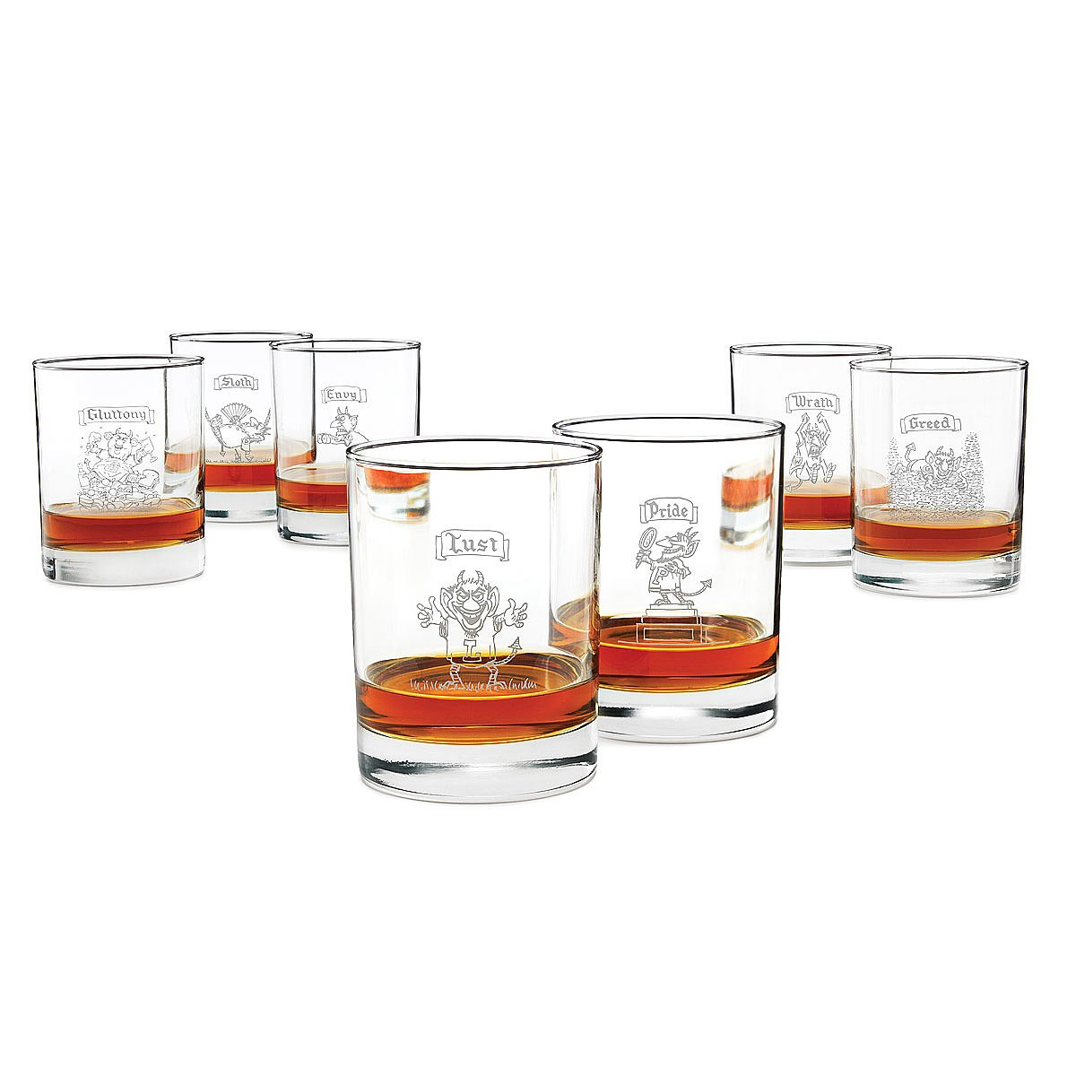 7 Deadly Sins Wine Glasses 7 Deadly Sins Glasses Set Of 7 Double Old Fashioned Glass