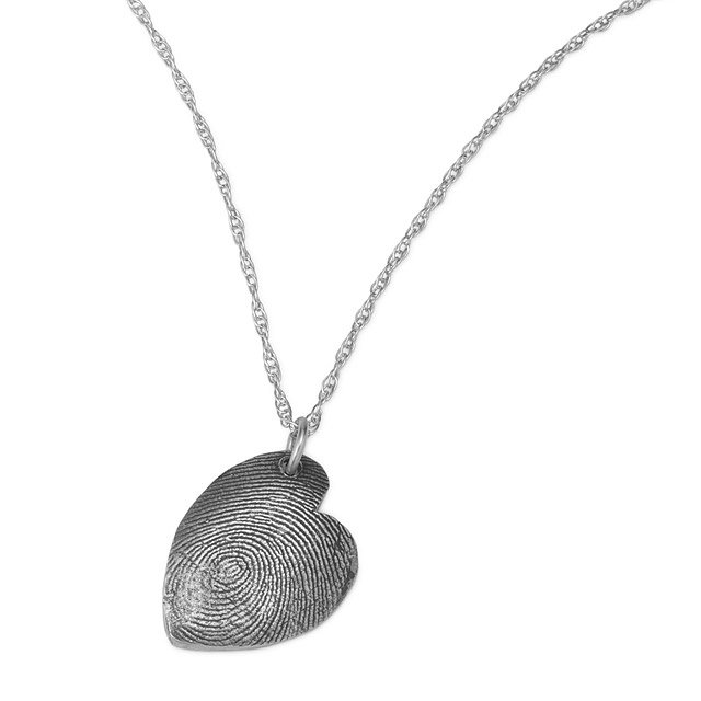 Custom fingerprint necklace personalized gift silver jewelry custom fingerprint necklace mozeypictures Image collections