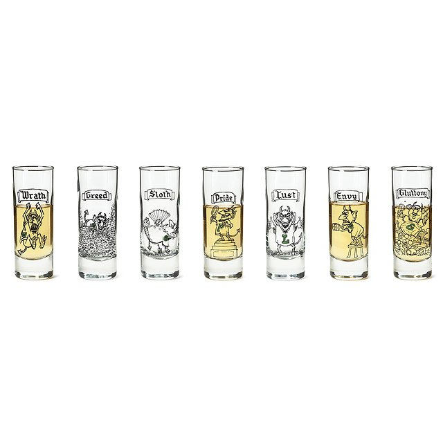 The 7 Deadly Sins Shot Glasses- Set of 7