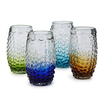 Hobnail Ombre Highball Glasses - Set of 4