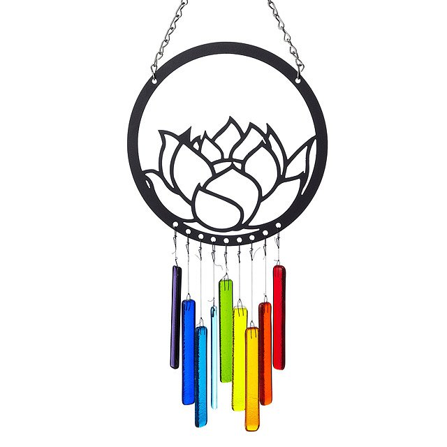 Recycled Glass Lotus Wind Chime