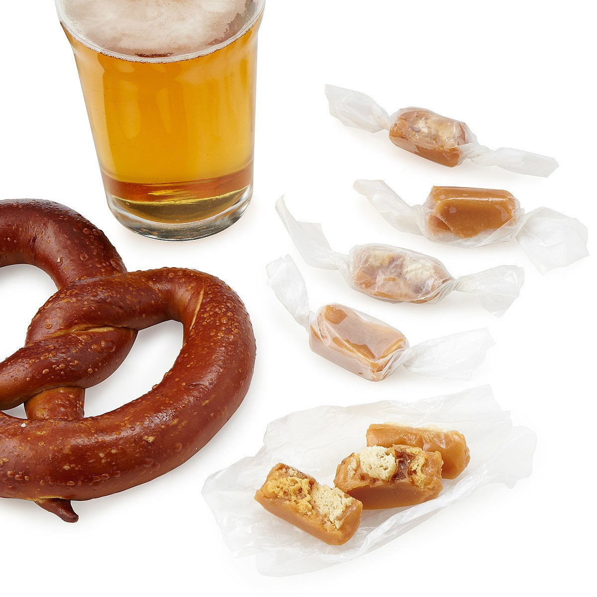 Beer and Pretzel Caramels | caramels, beer candy | UncommonGoods
