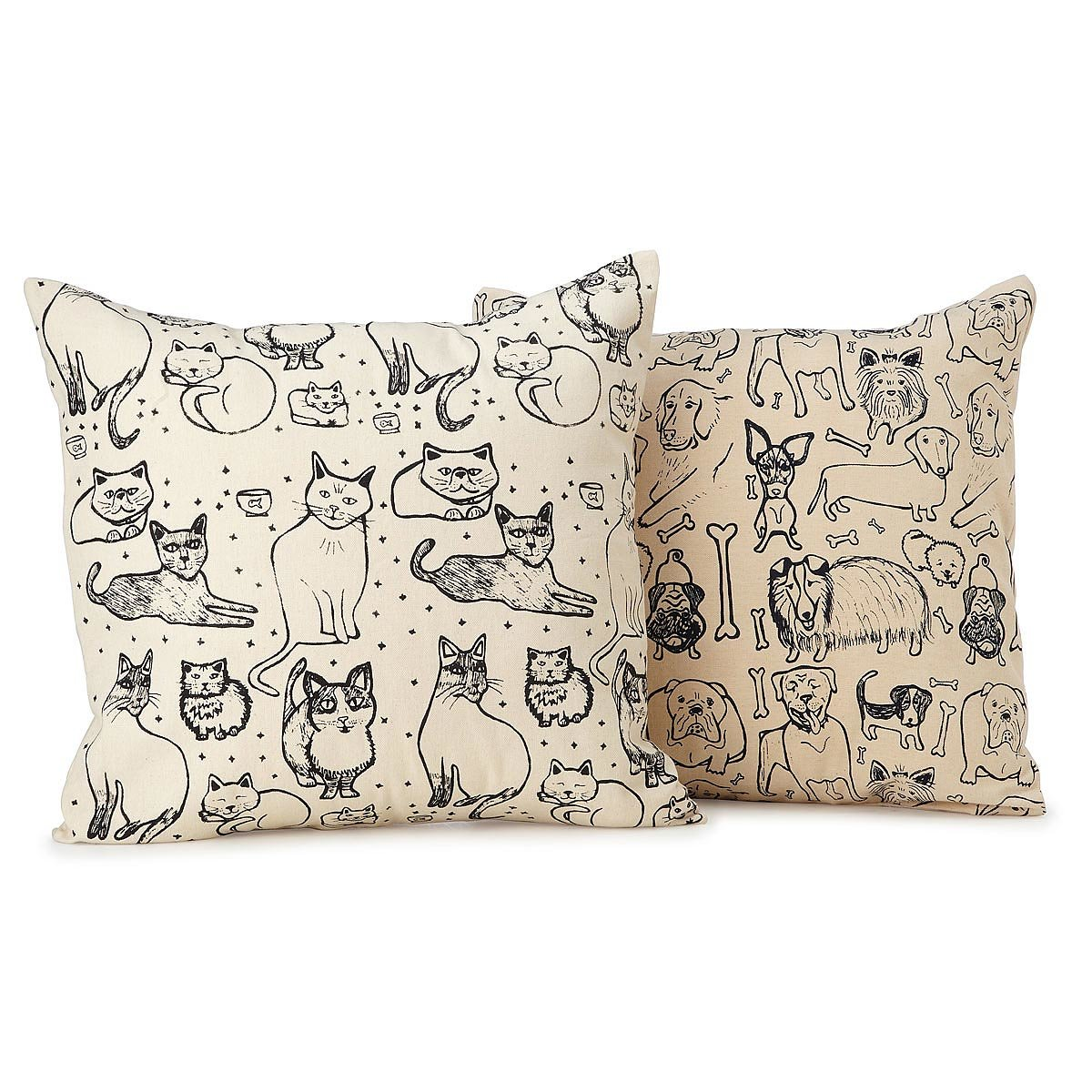 illustrated cat u0026 dog pillows 1 thumbnail