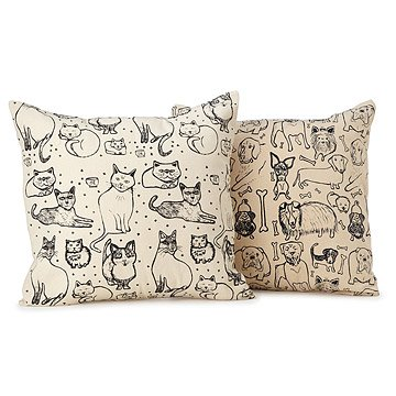 Illustrated Cat & Dog Pillows