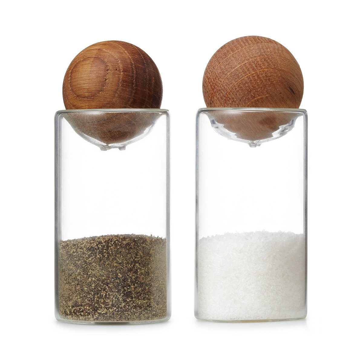 oval oak salt and pepper shakers  glass spice jars  uncommongoods - oval oak salt and pepper shakers  thumbnail