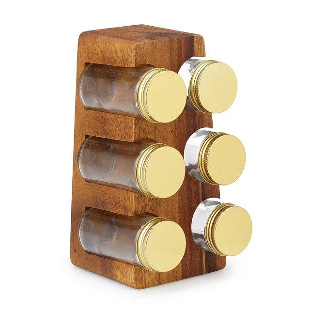 Acacia Stand with Spice Jars