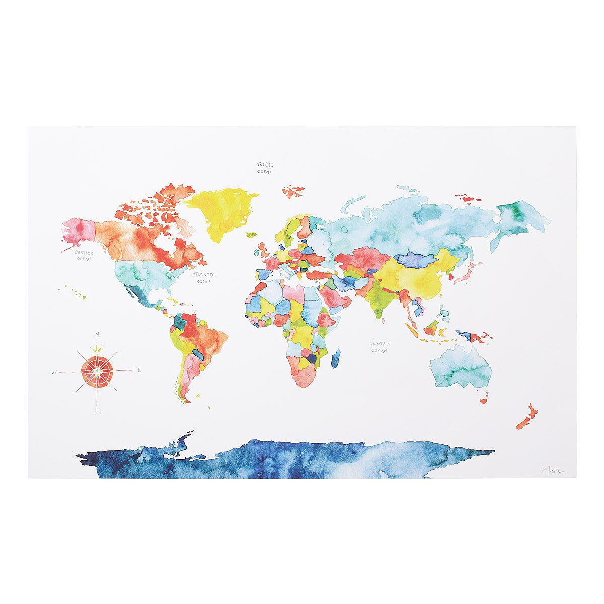 Watercolor world map painted world map color coded map watercolor world map 1 thumbnail art gumiabroncs Choice Image
