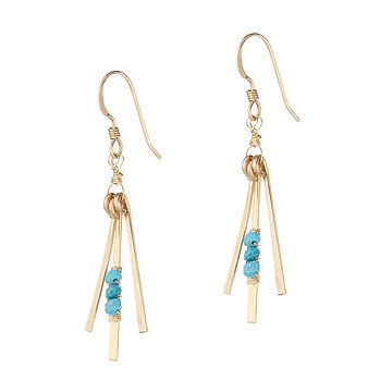 Hand Hammered Gold and Turquoise Earrings