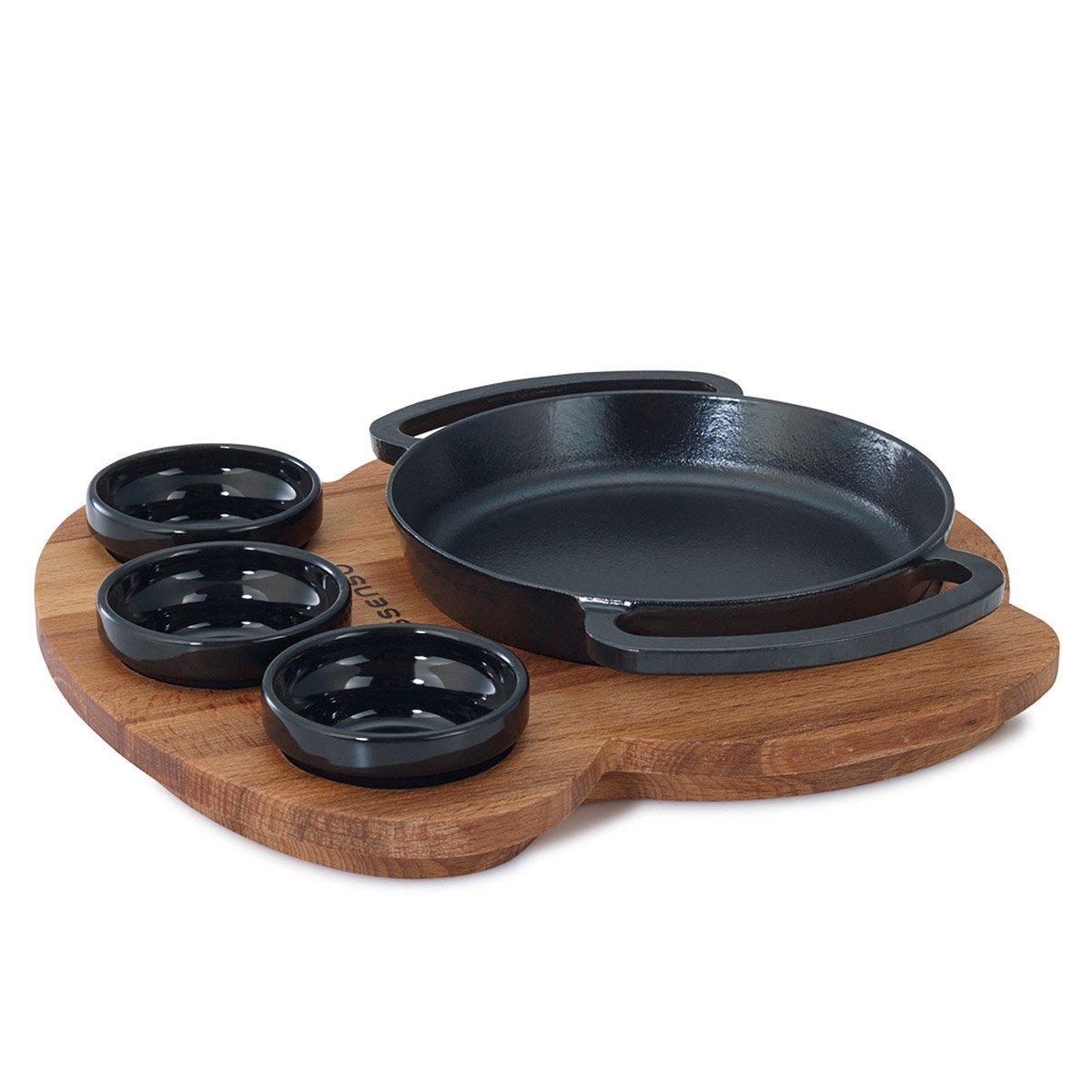 Cast iron kitchen trivet tea pot stand metal hot dish tray cookware - Cast Iron Serving Set With Wood Trivet 3 Thumbnail